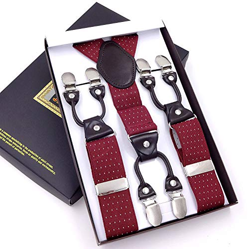 SUPOOGO 3,5 cm heren bandjes anti-slip Boxed zes clips bandjes lange dikke brede bandjes elastische pak broek 6 clip schouder riem