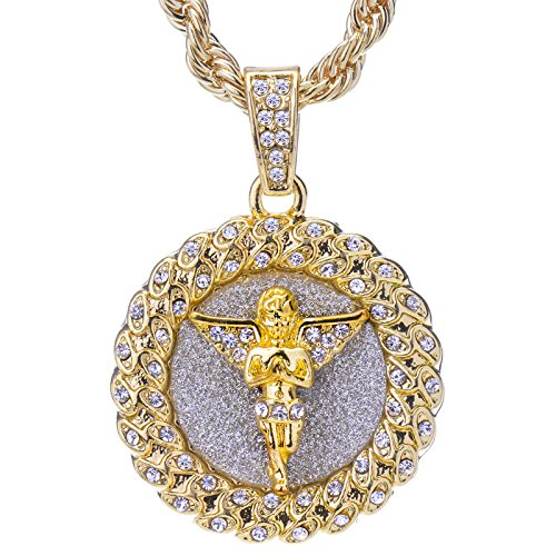 metaltree98 Mens 14 K Gold Plated Hip Hop Gold-Tone Praying Angel Round Pendant and Rope Chain 24 HC 121 G