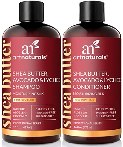 ArtNaturals Shea-Butter Shampoo and Conditioner Set - (2 x 16 Fl Oz / 473ml) - Moisturizing Silk - For Dry Damaged Hair - Avocado, Lychee, Rosehip, Aloe Vera and Coconut - Sulfate-Free 8 Oz Shea Butter Shampoo