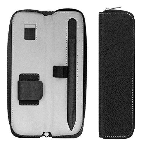 MoKo Hülle Kompatibel mit Apple Pencil, PU Leder Tasche Stiftschlaufe Sleeve Schreibzeug Schreibgerät Beutel Tasche Halter für iPad 10.2 2020/2019, iPad Pro 11 2020, iPad Pro 12.9 2020, Schwarz