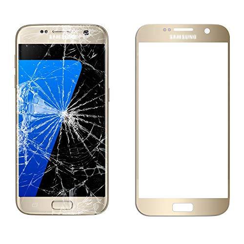 MovTEK Frontglas für Samsung Galaxy S7 G930 Serie Displayglas Ersatz Glas Reparatur Set mit Werkzeug (Gold)