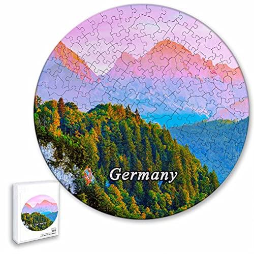 Alemania Puente Kristin Marie Castillo Baviera Rompecabezas de 195 Piezas con Forma Redonda de Animales de Madera para niños y Adultos, Recuerdos de 16.5 × 16.5 Pulgadas