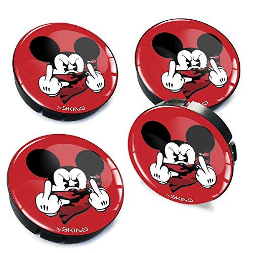 SkinoEu® 4 x 60mm Silikon Nabenkappen Kappen Rot Mittelfinger Maus Mouse Felgendeckel Radkappen Radnabendeckel Nabendeckel Auto Tuning C 35