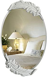 Qing MEI European Bathroom Wall Hanging Round Mirror Feather Box Makeup Mirror Bedroom Decorative Mirror Dressing Table Mirror/Vanity Mirror (Color : White, Size : 78x48cm)