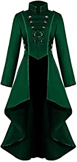 Aniywn Women's Gothic Steampunk Long Coat High Neck Buttons Long Sleeve Tailcoat Halloween Loose Jacket