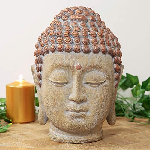 Maisonica Thailändischer Buddha-Kopf, geschnitzt, Holz-Effekt, Kupfer-Finish, 26 cm