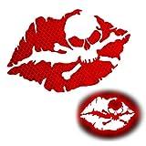 KE-KE 2PCS Kiss of Death Skull Crossbones Lips Reflective Sticker Decal Waterproof for Car Motorcycle Helmets Wind Screens Laptops (Red, 3in Wide)