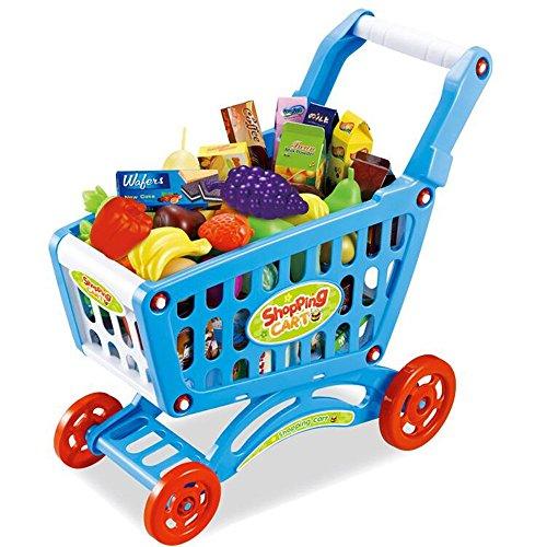 Jouets FEI Simulation pour Enfants Supermarché Shopping Carts to Play Accueil Bébé Chars Little Girls Légumes de Cuisine et de Fruits Sets (1-3 Ans) Début Éducation