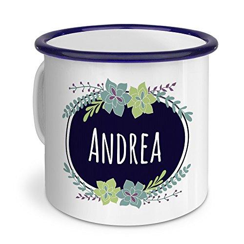 printplanet Emaille-Tasse mit Namen Andrea - Metallbecher mit Design Flowers - Nostalgie-Becher, Camping-Tasse, Blechtasse, Blau