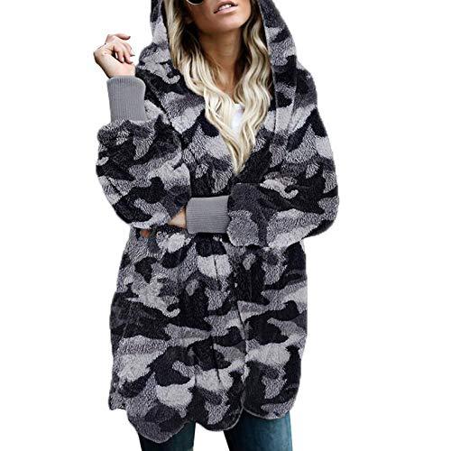 ZEIYUQI Sudadera gruesa con capucha para mujer, con teñido anudado, para invierno, de felpa cómoda, manga larga, con bolsillos, D, S