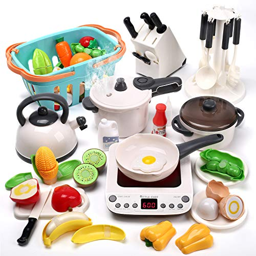 CUTE STONE Pretend Play Kitchen Toy with Cookware Steam Pressure Pot and Electronic Induction Cooktop, Cooking Utensils, Toy Cutlery, Cut Play Food, Shopping Basket Learning Gift for Girls Boys