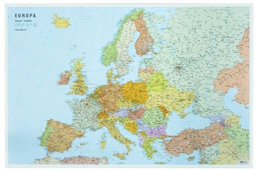 Veloflex 4673000 Schreibunterlage 40x60cm, Schreibtisch-Unterlage, Europa-Karte, abwischbar, rutschfest