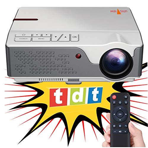 Beamer Nativer Full HD 1080P Projektor, Unicview FHD950 (1920 x 1080), 6.500 LED-Lumen, günstige maximale Helligkeit des Projektors Tragbares LED-Heimkino AC3 HDMI USB MKV TV integriertes (weiß)
