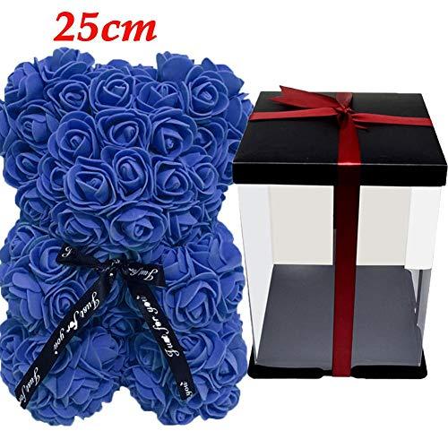 Dedeka Osito Rosa con Cinta, decoración Artificial de la Flor del Oso Rosa –Oso de Flores de 25 cm para el día de San Valentín, Aniversario, cumpleaños y Despedidas de Soltera