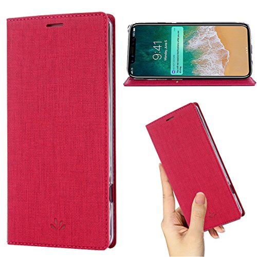 DLHLLC iPhone Xs Case,iPhone X Case,Premium Flip Leather Wallet Phone Case Kickstand Stand Card Slot Full Body Shockproof Protective Cover Inner Clear TPU Thin Case for Apple iPhone Xs 2018 (Rose)