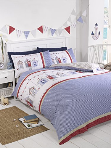 Rapport Beach Huts Quilt Duvet Cover and Pillowcase Set Summer Seaside Bed Linen, Polyester-Cotton, Blue, Single