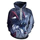 Unisex Long-Sleeved Casual Hooded Top,Drawstring Pullover with Pockets,Creative 3D Printed Pullover with Horned Wolf Animal,Casual Baseball Uniform-XS