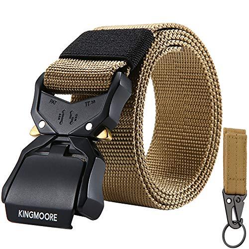 KingMoore Tactical Belt, Nylon EDC Belt Heavy Duty Work Belt Quick-Release with Metal Buckle (XL (42''-46''), Khaki)