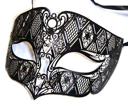 De Rubber Plantation TM 619219289498 mannen Roken Zwart Venetiaans Metaal Filigraan Masquerade Ball Party Eye Mask Prom, Unisex-Volwassene, One Size