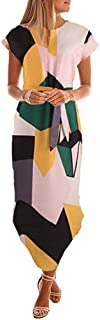 UOFOCO for Summer Dress for Women Maxi Dress Casual Short Sleeve V Neck Printed with Belt