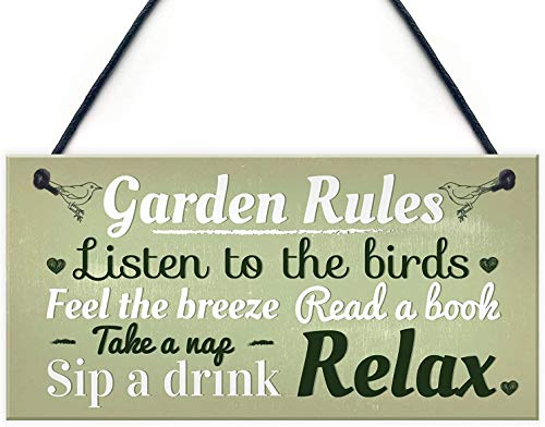 MAIYUAN Garden Rules Novelty Hanging Wood Plaque Summer House Sign Garden Shed Friendship Gift(2BW2018)