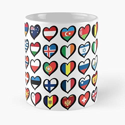 Taza de café de cerámica con el logotipo de Eurovision España de la UE Europa Ebu Heart Best 11oz