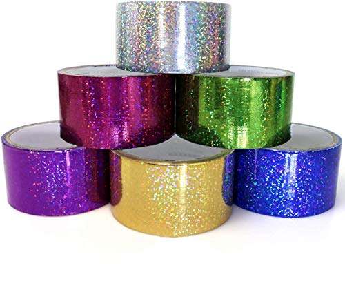GIFTEXPRESS 6 Holographic Heavy-Duty Assorted Colored Duct Tapes, Sparkle Glitter Tapes Multi Purposes Bright Colors for DIY, Art Craft, 2