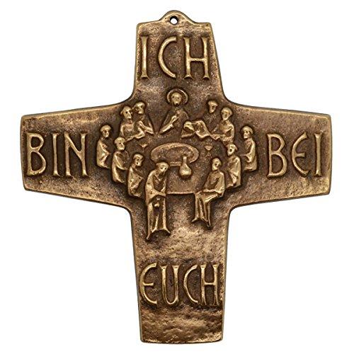 Kommunionkreuz Bronze - Wandkreuz Abendmahl mit Text Ich bin bei Euch, 10cm