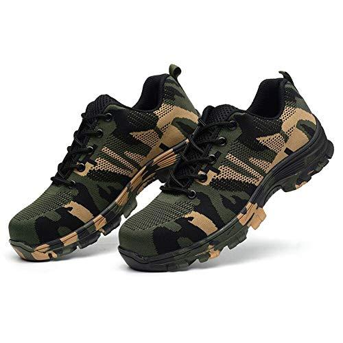 Icepeach Hombres indestructibles a prueba de balas zapatos de seguridad militar de trabajo zapatillas ligeras, color Verde, talla 40 EU