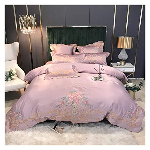 ZJXYYYzj Sheets Set, Flower Embroidery 60S Satin Washed Silk Cotton Bedding Set Duvet Cover Bed Linen Fitted Sheet Bedspread Pillowcases (Color : C, Size : Fitted Bed Sheet)