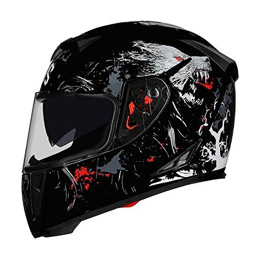 Casco Integral Moto,Flip Up Visera Casco Moto Full Face,ECE Homologado Casco Moto Cruiser Chopper Scooter Ciclomotor Seguridad Anticolisión Cap para Mujer y Hombre K,M=55~57cm