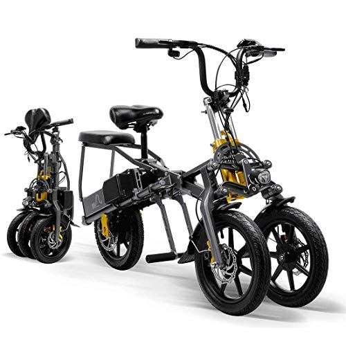 Electric Tricycle for Adult Foldable Three Wheels Electric Mountain Bike Mini Scooter Up to 30km 25km/h Lithium Battery Three Speed Modes Big Wheels Sport