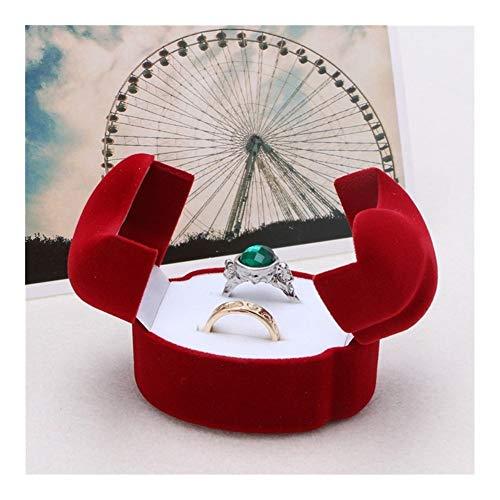 AGNN Joyería de la Boda del rectángulo del Contrato Pareja Pendiente del Anillo exhibición de la joyería de Almacenamiento Caja de la Caja Anillos for Pantalla el Cuadro de Paquete (Color : Red)