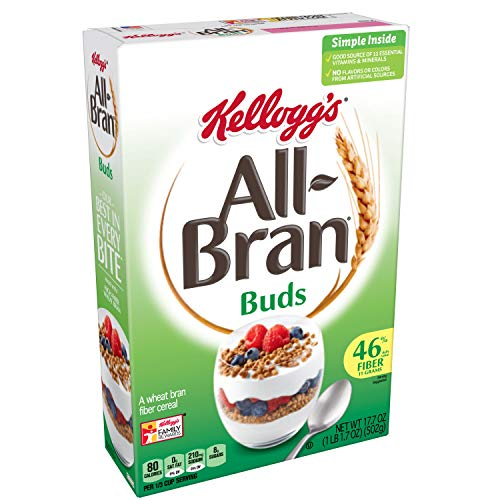 (Discontinued Version) Kellogg's All-Bran Buds, Breakfast Cereal, Wheat Bran, Excellent Source of Fiber, 17.7 oz Box
