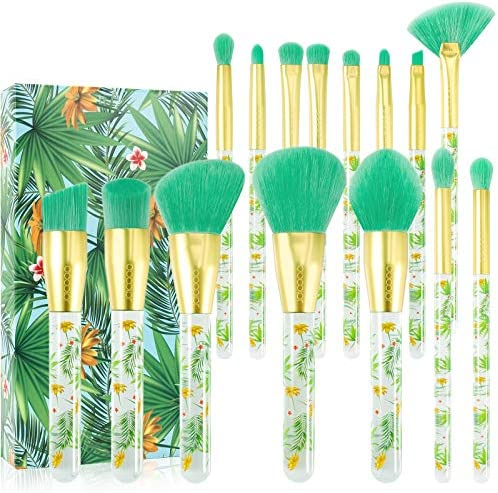 Tropical Makeup Brushes Docolor 14 Pieces Professional Makeup Brushes Set Premium Synthetic product image