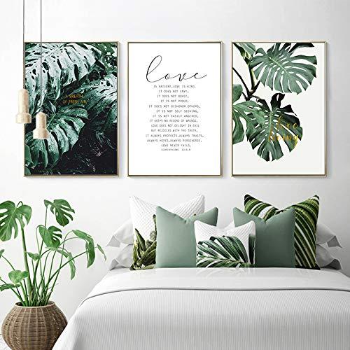 Tropische Grüne Pflanze Blatt Skandinavischen Poster Wandkunst Leinwand Malerei Zitat Nordic Print Dekoration Bild Moderne Wohnkultur Malerei 3 stücke 60x80 cm Kein Rahmen