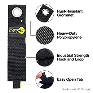 Wrap It Heavy-Duty Storage Straps - (6 Pack Jumbo) - Hook and Loop Organizer Hanger for Extension Cords, Cables, Hoses, Rope and More for Garage, Home, Shop, Boat, Marine, RV and Camping Organization