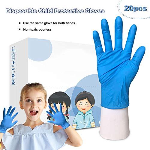 Luyao 20 Piezas de Guantes de látex Desechables Azules para niños, Guantes de nitrilo, Guantes Protectores, universales para Manualidades, Pintura, jardinería, Cocina, Limpieza (XS)