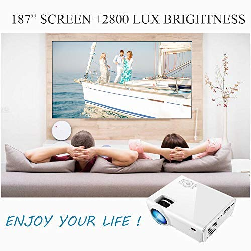Projector(2020) XINDA 2000 Lumens Video Projector with 170' Display 50,000 Hours LED Full HD Video Projector,Compatible with HDMI, VGA, USB, AV, SD for Home Theater