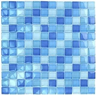 Turquoise Cobalt Blue Mosaic Glass Tile Blend 1