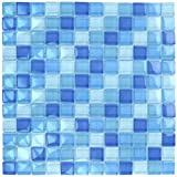 Turquoise Cobalt Blue Mosaic Glass Tile Blend 1'x1' for Bathroom, Kitchen or Pool/Spa
