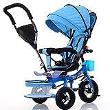 NAUY @ Triciclo de niños bicicleta plegable cochecito de bebé 1-6 años de edad Titanio rueda vacía marco de coche color Sillas de paseo (color : Azul)