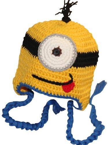 Hand Made Girl Boy Crochet Hat Knit Ski Cartoon Cap (Blue)