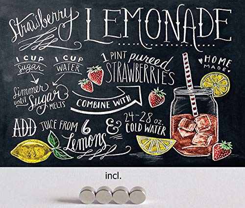 Metalen bord 20 x 30 cm gebogen, incl. 4 magneten Strawberry Lemonade aardbeien limonade decoratief geschenk bord