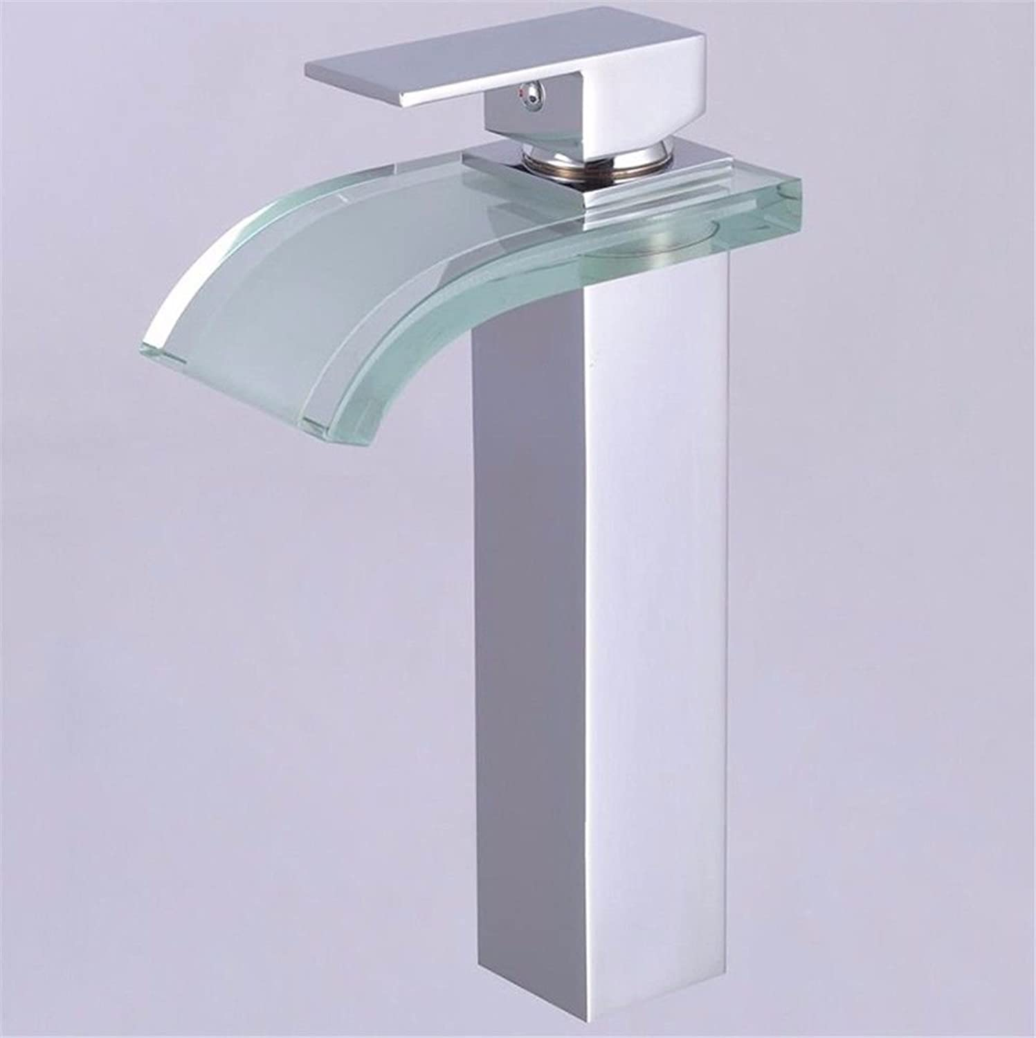 LHbox Basin Mixer Tap Bathroom Sink Faucet Modern glass and cold water ceramic valve single hole Single Handle bathroom basin mixer