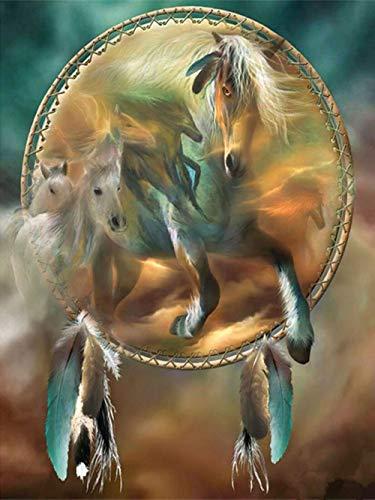 Diamant-schilderij, 5D, knutselen, rond, diamant, paard dode m, 30 x 40 cm, borduurwerk, volledige diamant, handwerk, decoratie, kruissteek, cadeauset