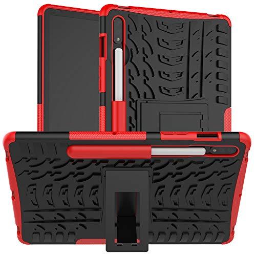 DWaybox Estuche a Prueba de Golpes para Samsung Galaxy Tab S7 SM-T870 / T875 / T876B Armadura híbrida Combo Resistente y Resistente Funda Protectora de Doble Capa con Soporte -Rojo