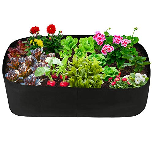 pannow Fabric Raised Planting Bed Garden Grow Bags Herb Flower Vegetable Plants Bed Rectangle Planter for Plants Flowers and Vegetables 2ft x 4ft