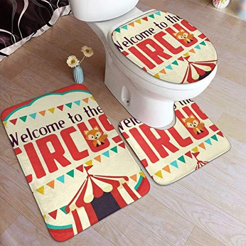 Aubrdon Old Red Bienvenido a Circus Bath Rug Mats Set 3 Piezas Almohadillas Antideslizantes Alfombra de baño + Contorno + Tapa de Inodoro
