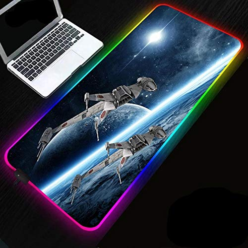Mystery Universe and Cosmic Probe RGB LED Gaming Mouse Pad - Large Pad RGB Gaming Mat with Easy to Clean Waterproof Surface - Anti-Slip Rubber Base 11.81'x27.56'